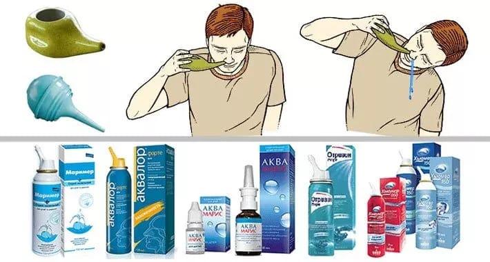 Промывание носа аптечными средствами.